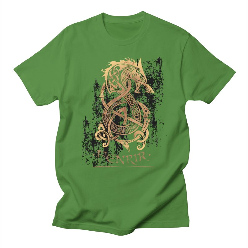 Gold Fenrir Wolf Men's T-Shirt by Celtic Hammer Club