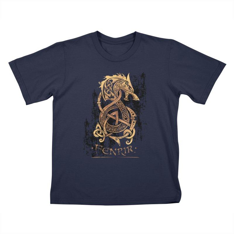 Gold Fenrir Wolf Kids T-Shirt by Celtic Hammer Club