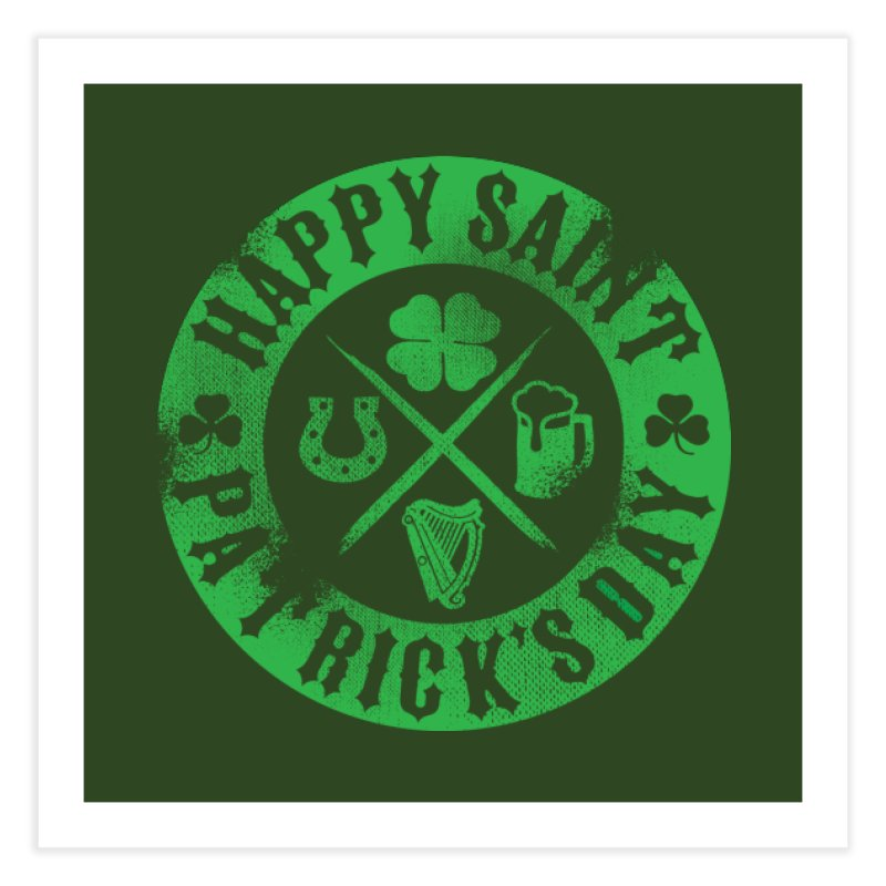 St. Patrick's Day Badge Logo Home Fine Art Print by Celtic Hammer Club