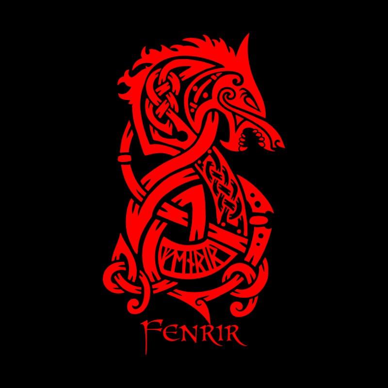 Red Fenrir Wolf Women's Scoop Neck by Celtic Hammer Club