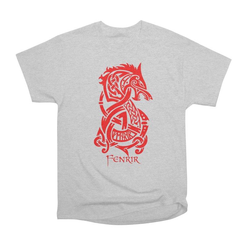 Red Fenrir Wolf Men's T-Shirt by Celtic Hammer Club