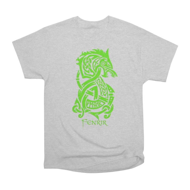 Green Fenrir Wolf Men's T-Shirt by Celtic Hammer Club
