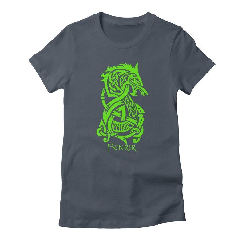 Green Fenrir Wolf Women's T-Shirt by Celtic Hammer Club