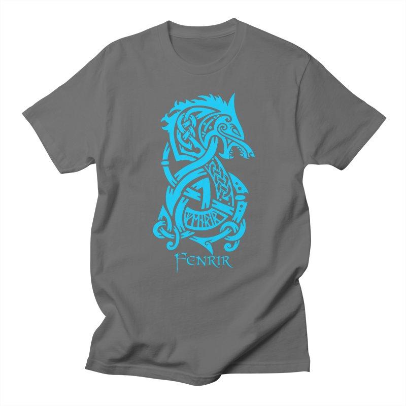 Blue Fenrir Wolf Men's T-Shirt by Celtic Hammer Club