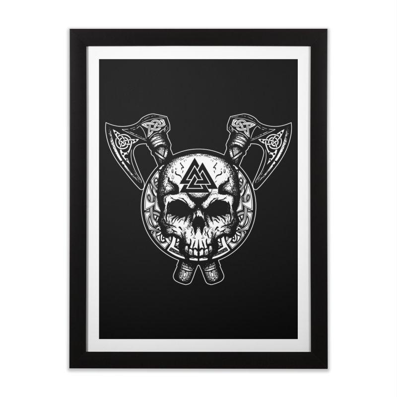 Odin Valknut Skull Home Framed Fine Art Print by Celtic Hammer Club