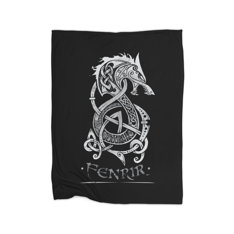 Fenrir: The Monster Wold of Norse Mythology (Gray) Home Blanket by Celtic Hammer Club Apparel