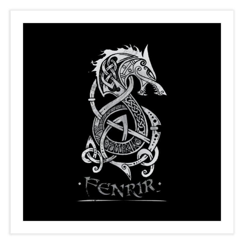 Gray Fenrir Wolf Home Fine Art Print by Celtic Hammer Club