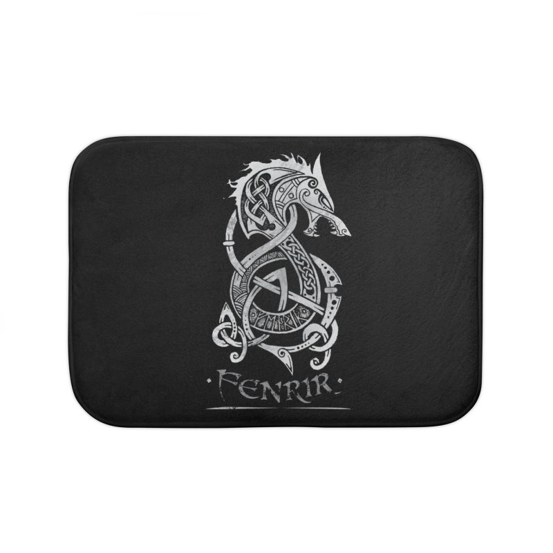 Fenrir: The Monster Wold of Norse Mythology (Gray) Home Bath Mat by Celtic Hammer Club Apparel