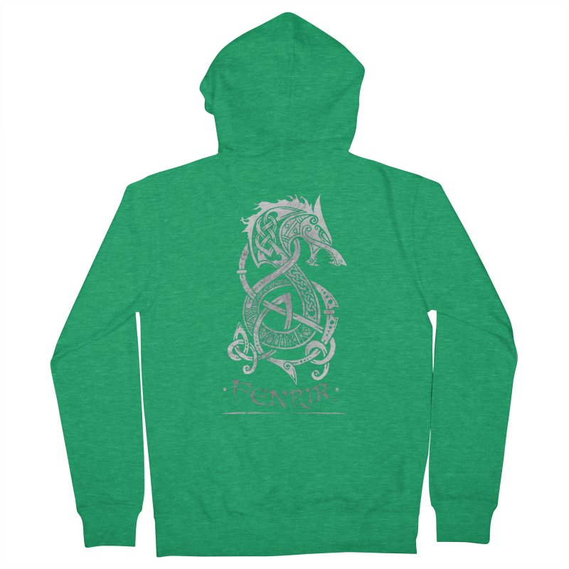 Gray Fenrir Wolf Women's Zip-Up Hoody by Celtic Hammer Club