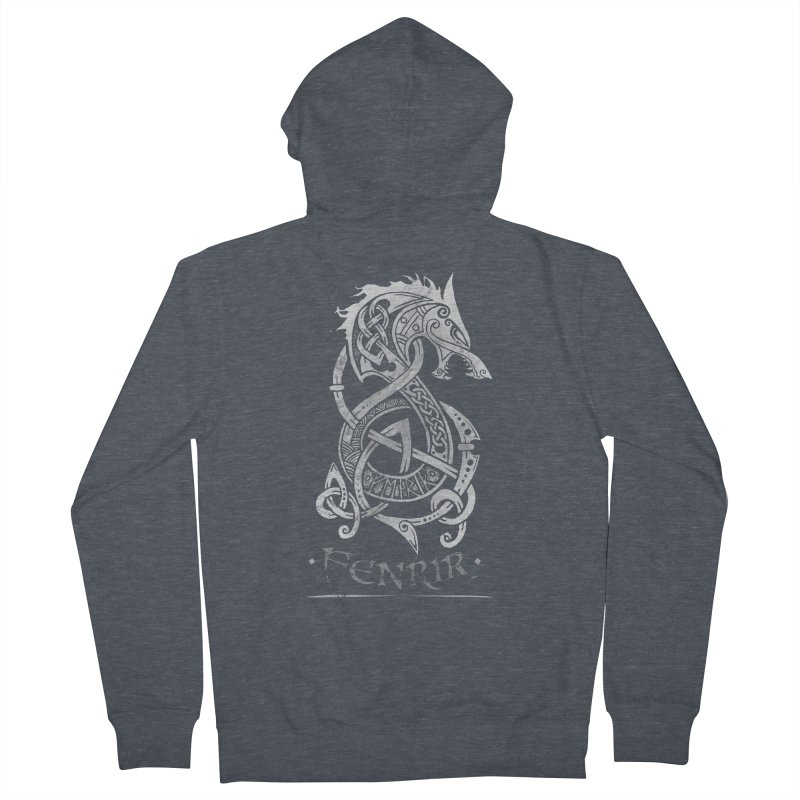 Fenrir: The Monster Wold of Norse Mythology (Gray) Women's Zip-Up Hoody by Celtic Hammer Club Apparel