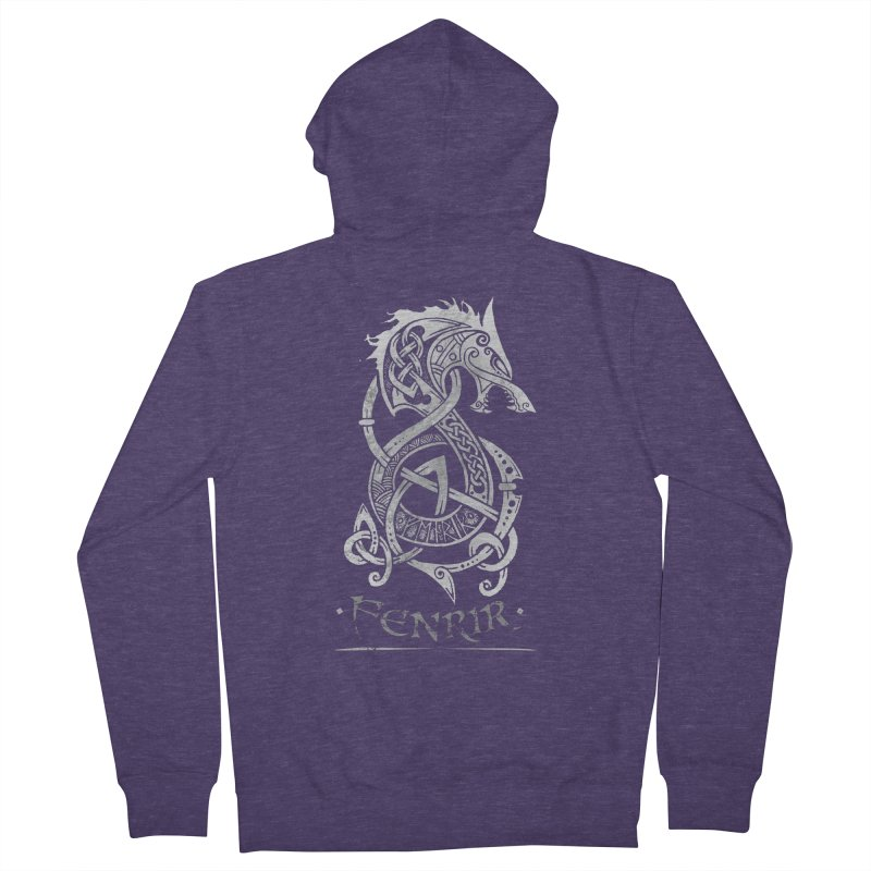 Fenrir: The Monster Wolf of Norse Mythology (Gray) Men's Zip-Up Hoody by Celtic Hammer Club Apparel