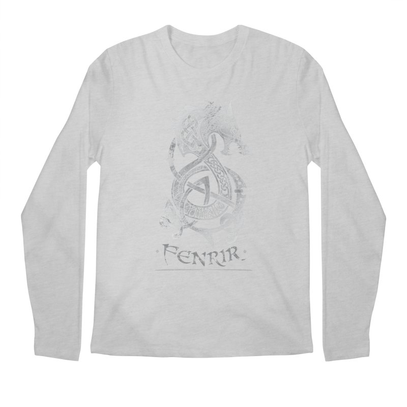 Fenrir: The Monster Wold of Norse Mythology (Gray) Men's Longsleeve T-Shirt by Celtic Hammer Club Apparel