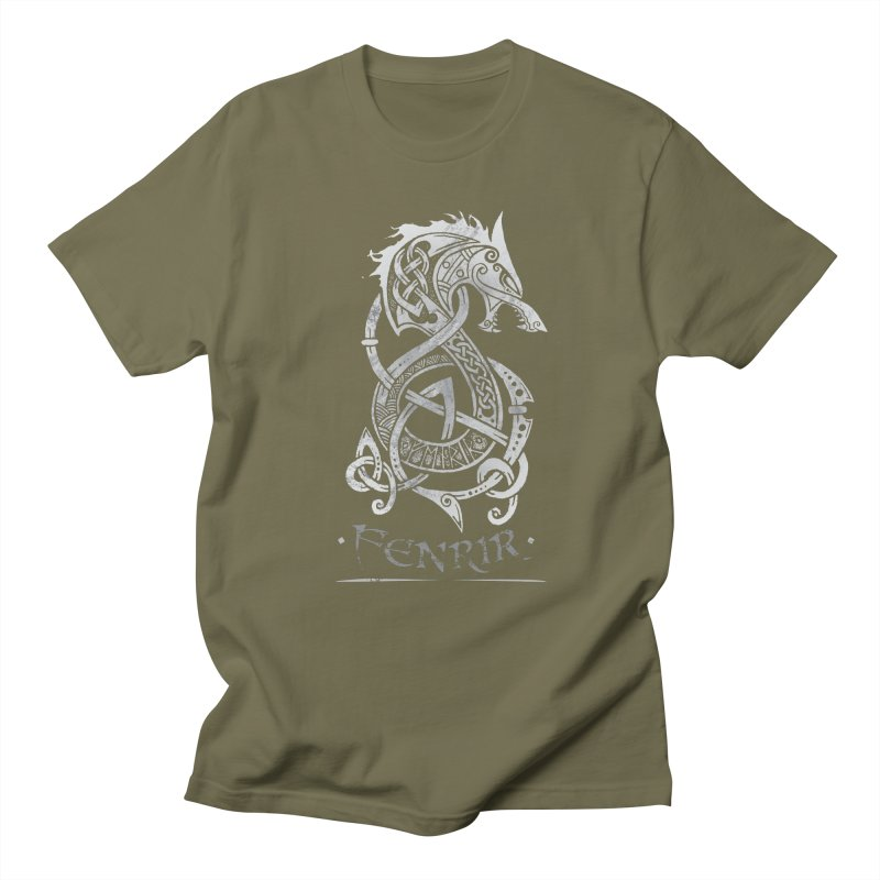 Fenrir: The Monster Wold of Norse Mythology (Gray) Men's T-Shirt by Celtic Hammer Club Apparel