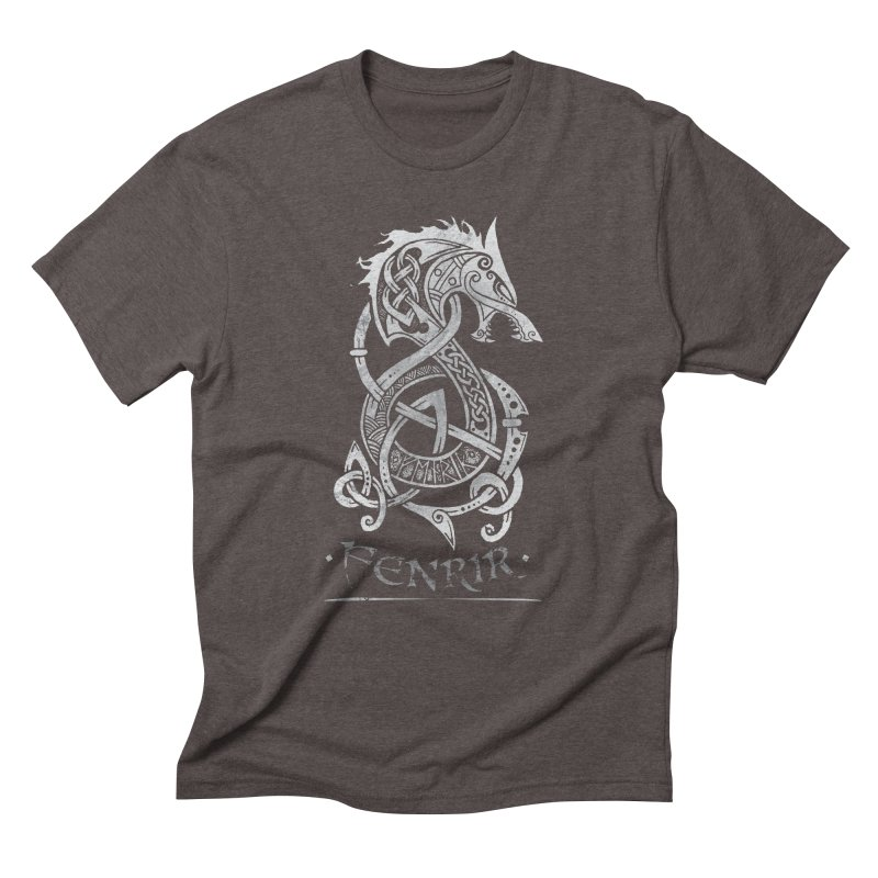 Fenrir: The Monster Wold of Norse Mythology (Gray) Men's Triblend T-Shirt by Celtic Hammer Club Apparel