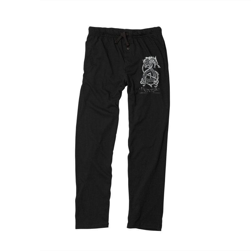 Fenrir: The Monster Wold of Norse Mythology (Gray) Men's Lounge Pants by Celtic Hammer Club Apparel