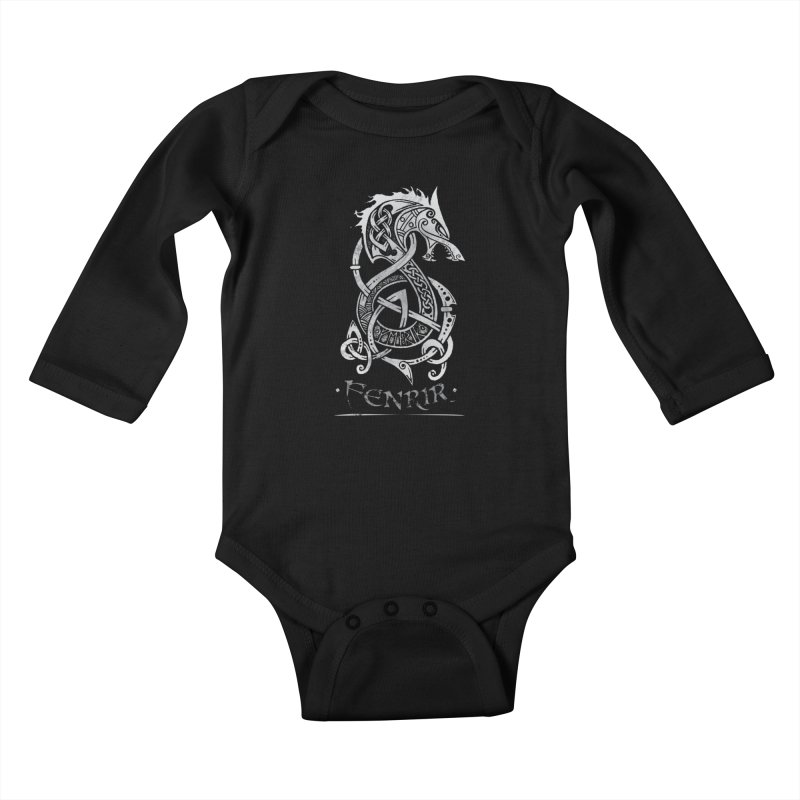 Fenrir: The Monster Wold of Norse Mythology (Gray) Kids Baby Longsleeve Bodysuit by Celtic Hammer Club Apparel