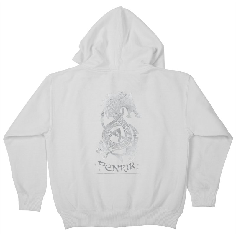 Fenrir: The Monster Wold of Norse Mythology (Gray) Kids Zip-Up Hoody by Celtic Hammer Club Apparel