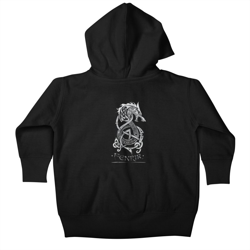 Fenrir: The Monster Wold of Norse Mythology (Gray) Kids Baby Zip-Up Hoody by Celtic Hammer Club Apparel
