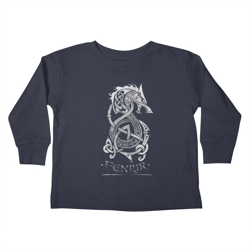 Fenrir: The Monster Wold of Norse Mythology (Gray) Kids Toddler Longsleeve T-Shirt by Celtic Hammer Club Apparel