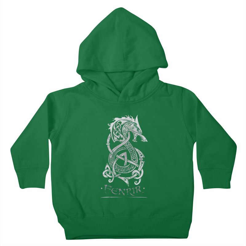 Fenrir: The Monster Wold of Norse Mythology (Gray) Kids Toddler Pullover Hoody by Celtic Hammer Club Apparel
