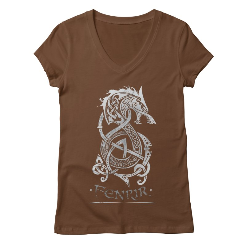 Fenrir: The Monster Wold of Norse Mythology (Gray) Women's V-Neck by Celtic Hammer Club Apparel