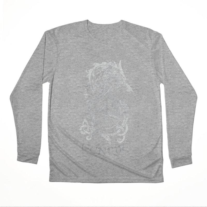 Gray Fenrir Wolf Men's Performance Longsleeve T-Shirt by Celtic Hammer Club