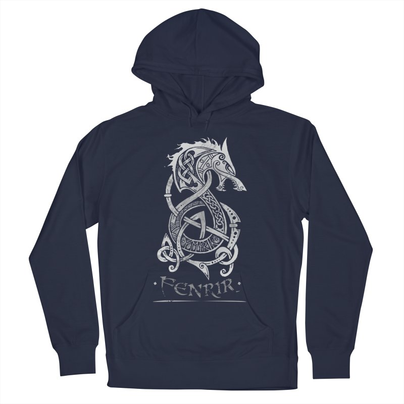 Gray Fenrir Wolf Men's Pullover Hoody by Celtic Hammer Club