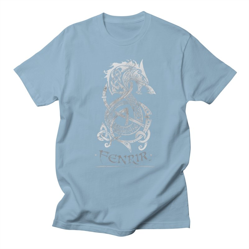 Gray Fenrir Wolf Men's T-Shirt by Celtic Hammer Club