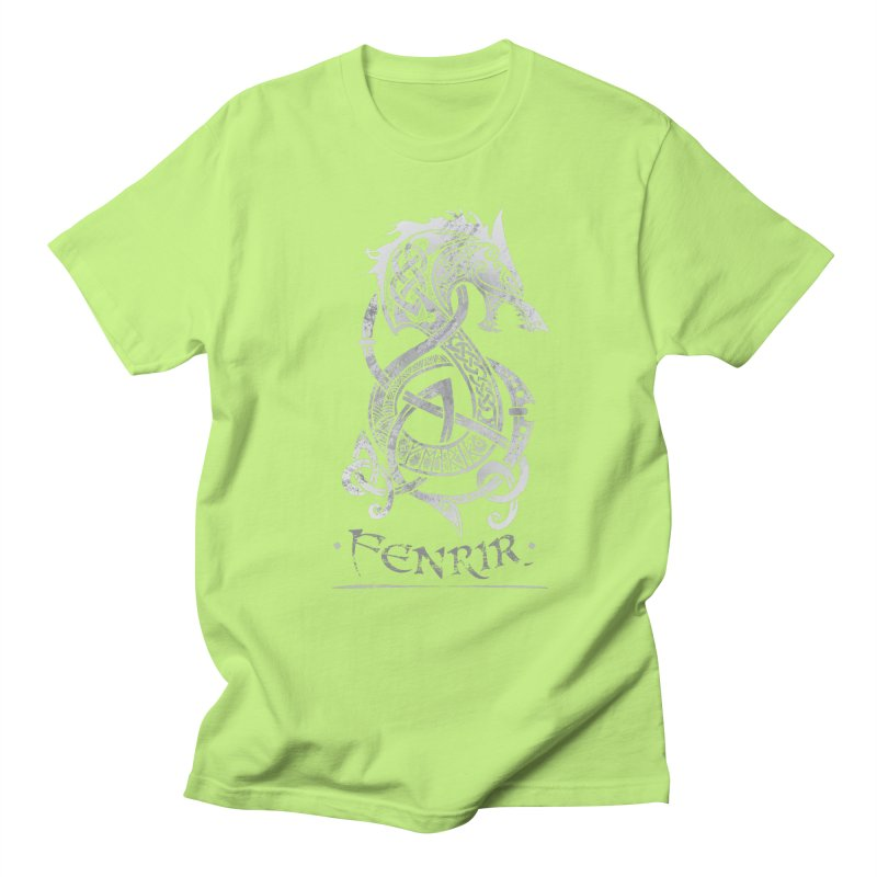 Gray Fenrir Wolf Men's T-Shirt by Celtic Hammer Club