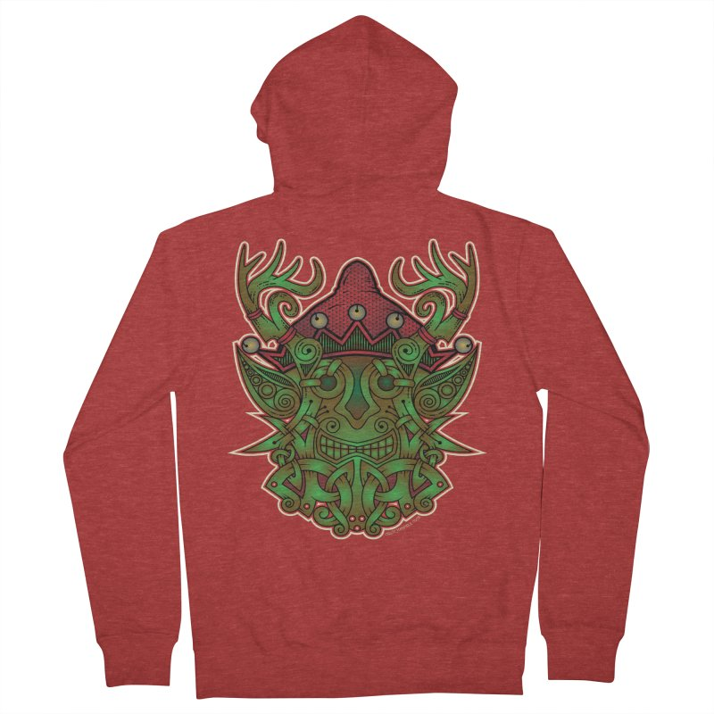 Yule Elf Viking Godmask Men's Zip-Up Hoody by Celtic Hammer Club Apparel
