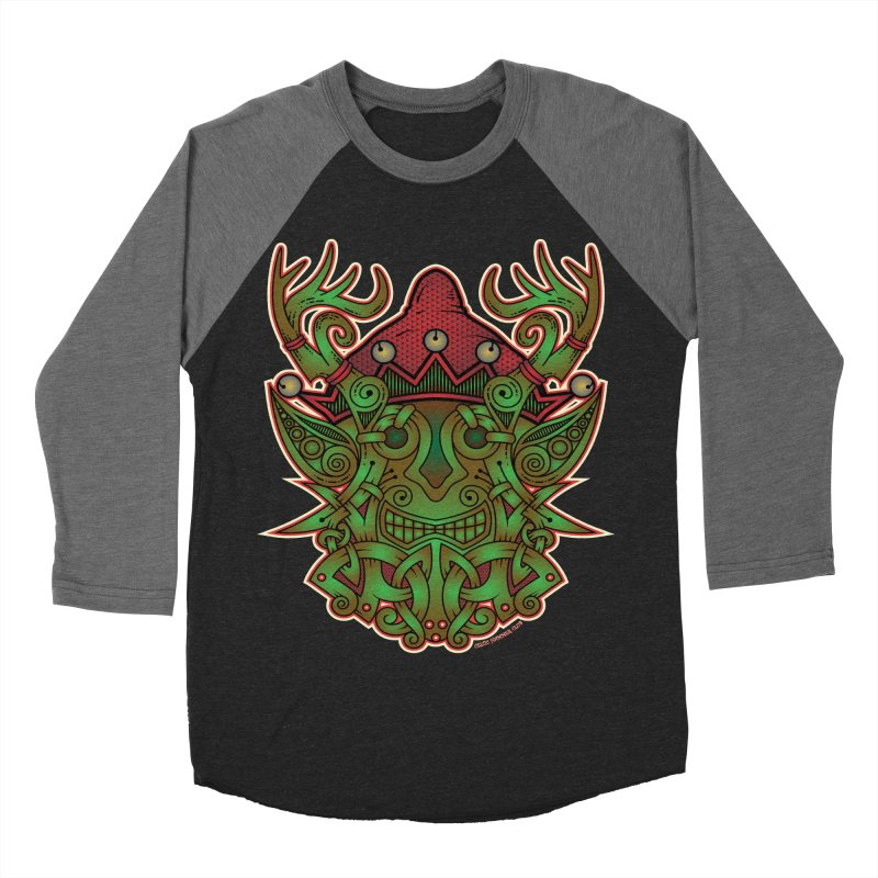 Yule Elf Viking Godmask Men's Baseball Triblend T-Shirt by Celtic Hammer Club Apparel