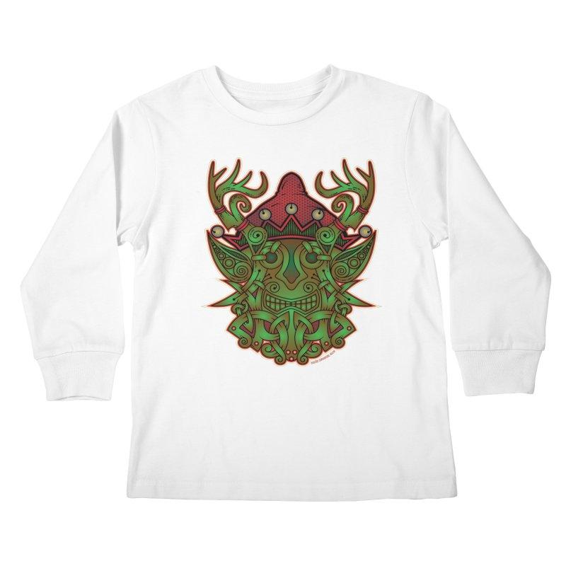 Yule Elf Viking Godmask Kids Longsleeve T-Shirt by Celtic Hammer Club Apparel