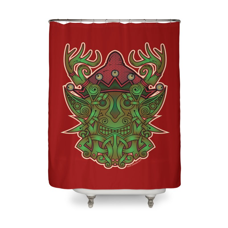 Yule Elf Viking Godmask Home Shower Curtain by Celtic Hammer Club Apparel