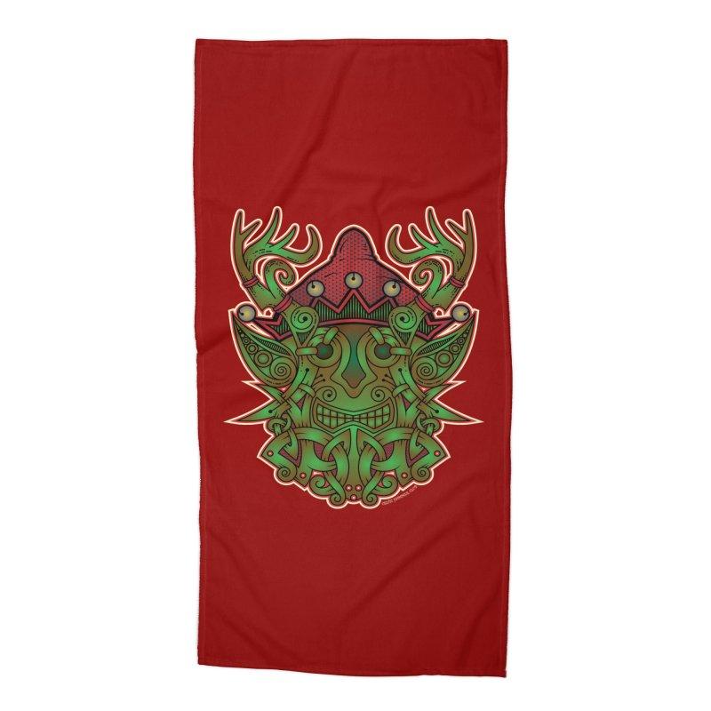 Yule Elf Viking Godmask Accessories Beach Towel by Celtic Hammer Club Apparel
