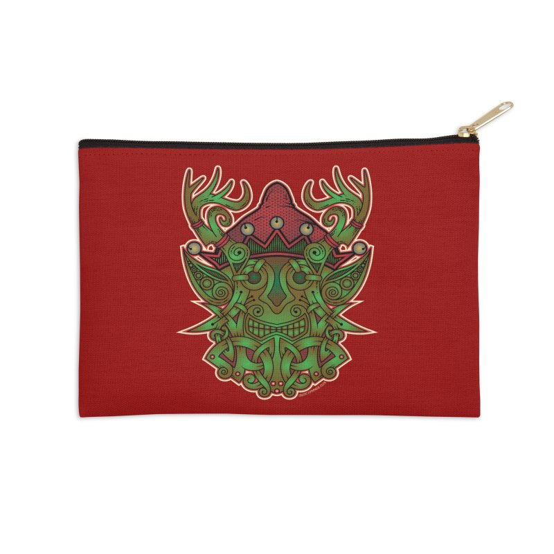 Yule Elf Viking Godmask Accessories Zip Pouch by Celtic Hammer Club Apparel