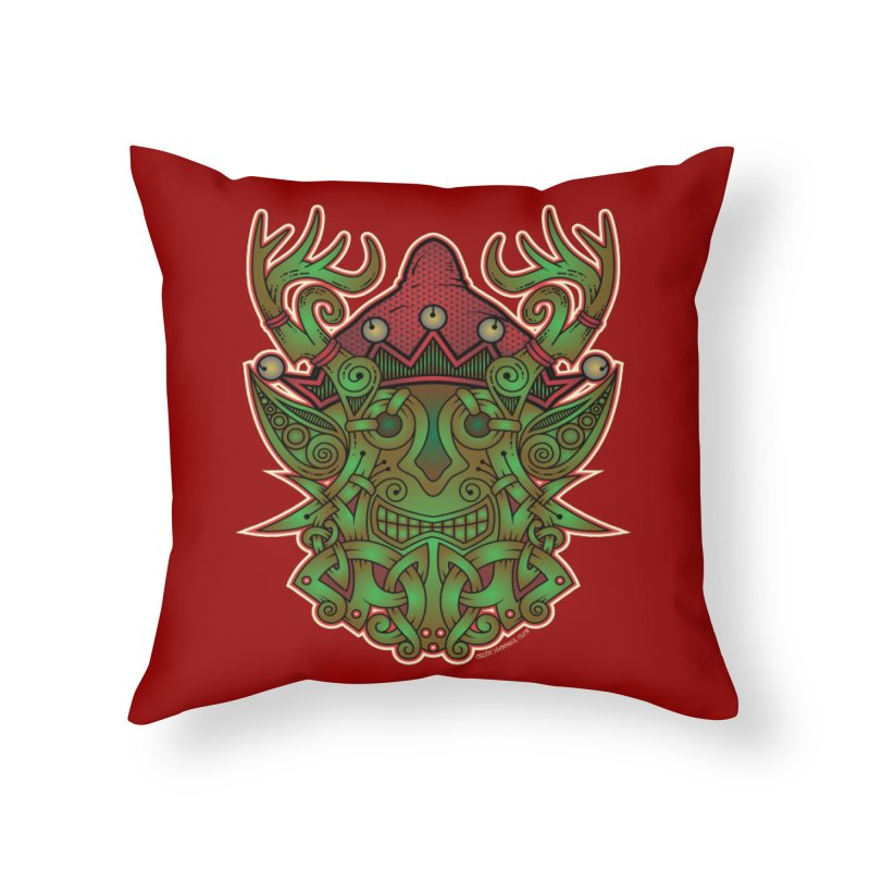 Yule Elf Viking Godmask Home Throw Pillow by Celtic Hammer Club Apparel