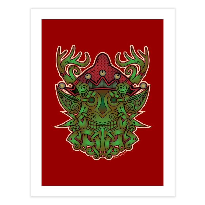 Yule Elf Viking Godmask Home Fine Art Print by Celtic Hammer Club Apparel