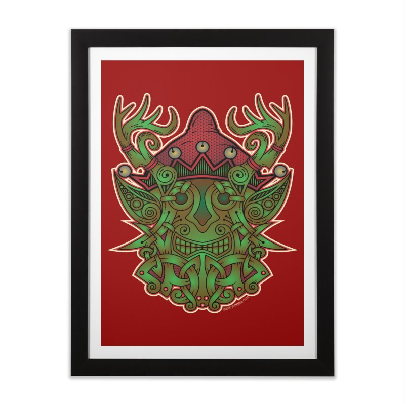Yule Elf Viking Godmask Home Framed Fine Art Print by Celtic Hammer Club Apparel