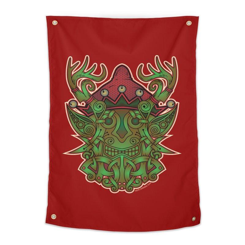 Yule Elf Viking Godmask Home Tapestry by Celtic Hammer Club Apparel