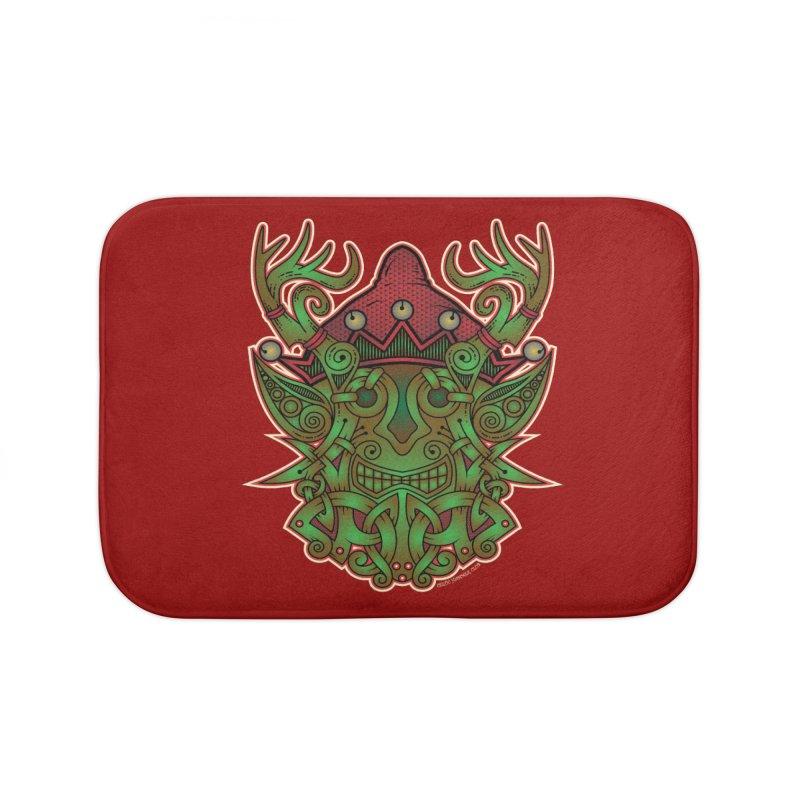 Yule Elf Viking Godmask Home Bath Mat by Celtic Hammer Club Apparel