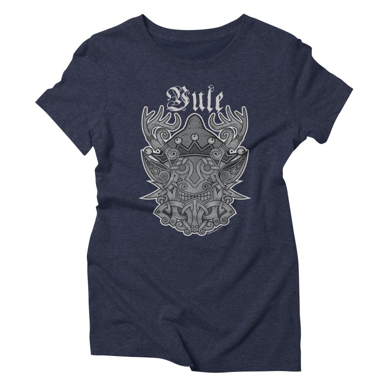 Yule Elf Viking Godmask Women's Triblend T-Shirt by Celtic Hammer Club Apparel