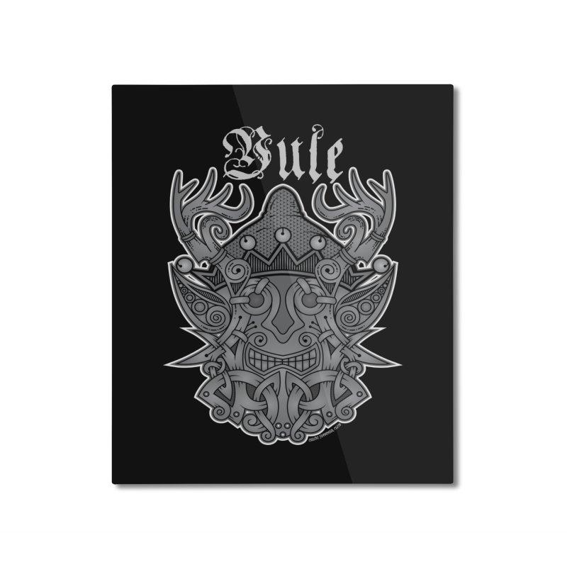 Yule Elf Viking Godmask Home Mounted Aluminum Print by Celtic Hammer Club Apparel