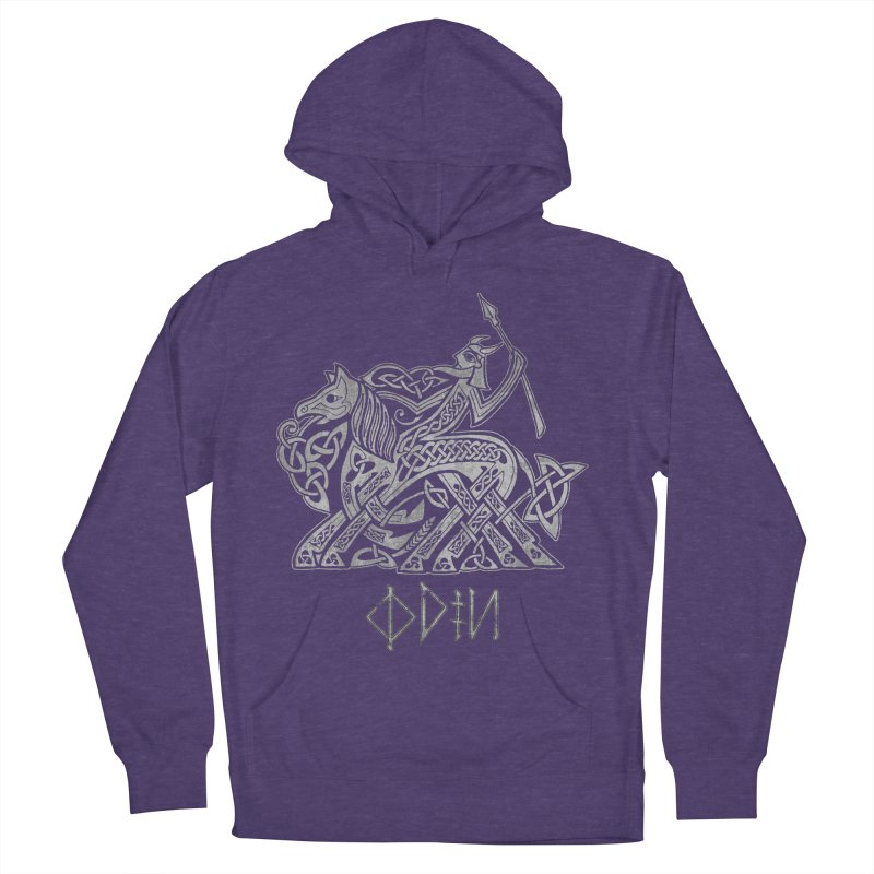 Odin Riding into Valhalla on Sleipnir (Gray) Women's French Terry Pullover Hoody by Celtic Hammer Club