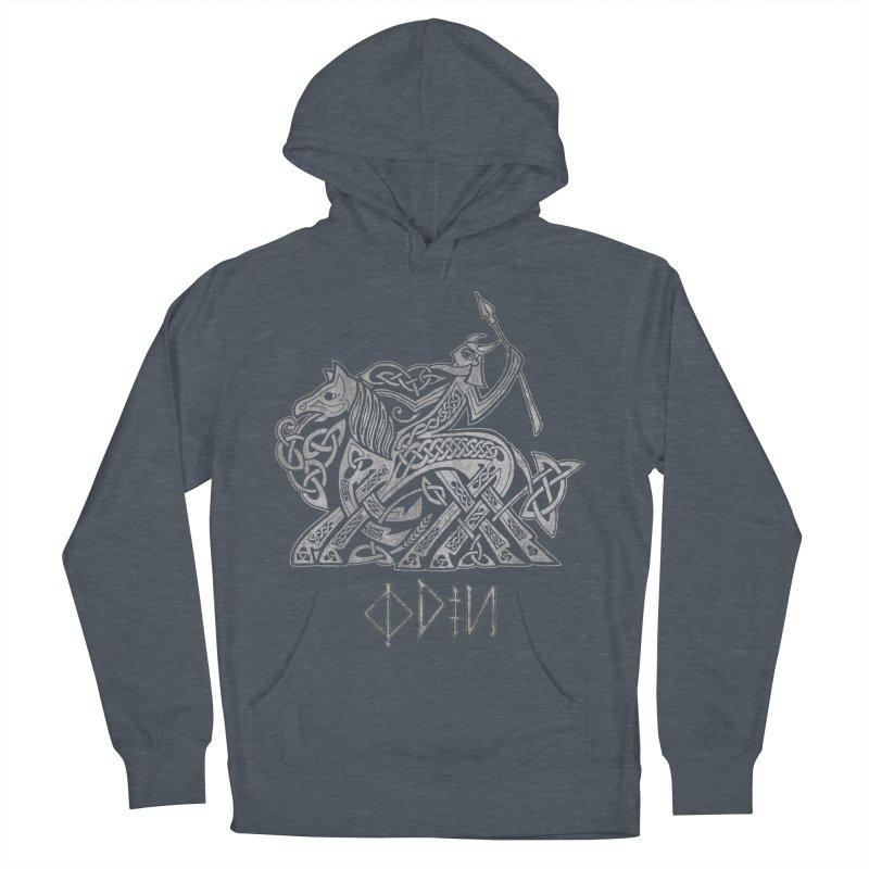 Odin Riding into Valhalla on Sleipnir (Gray) Men's Pullover Hoody by Celtic Hammer Club Apparel