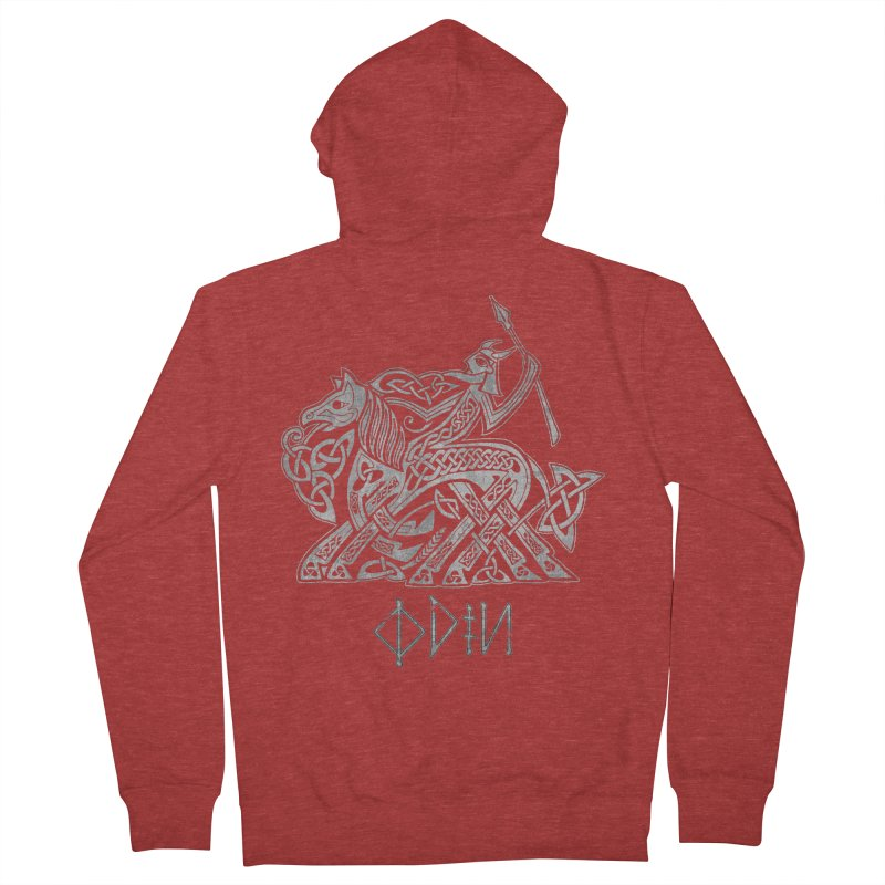 Odin Riding into Valhalla on Sleipnir (Gray) Men's Zip-Up Hoody by Celtic Hammer Club Apparel