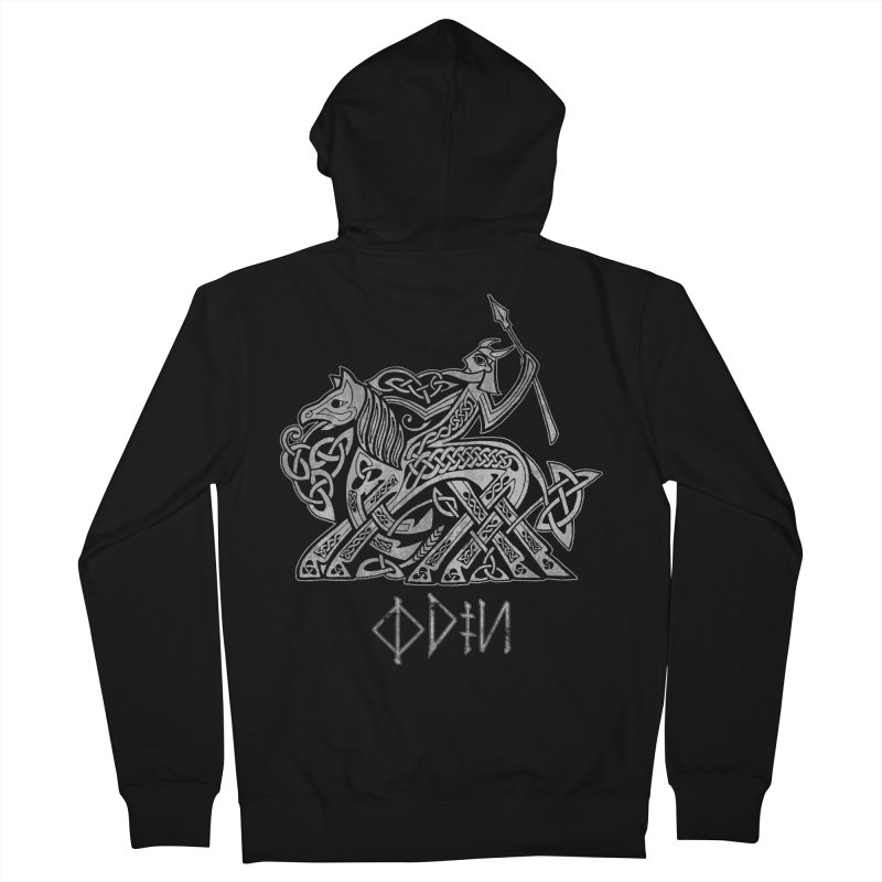 Odin Riding into Valhalla on Sleipnir (Gray) Men's Zip-Up Hoody by Celtic Hammer Club Apparel