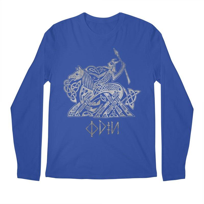 Odin Riding into Valhalla on Sleipnir (Gray) Men's Longsleeve T-Shirt by Celtic Hammer Club Apparel