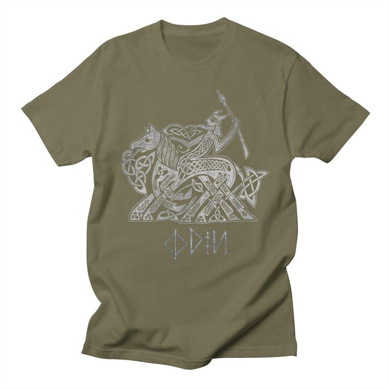 Odin Riding into Valhalla on Sleipnir (Gray) Men's T-Shirt by Celtic Hammer Club Apparel