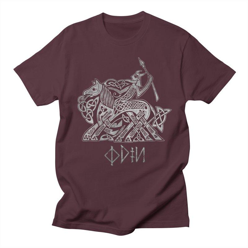 Odin Riding into Valhalla on Sleipnir (Gray) Women's Unisex T-Shirt by Celtic Hammer Club Apparel