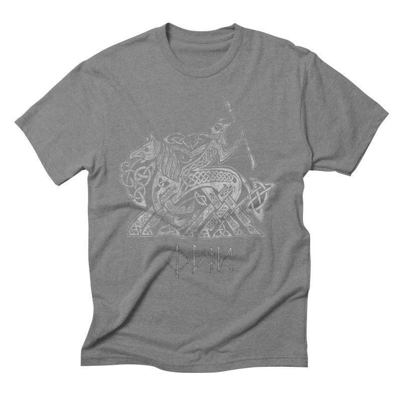 Odin Riding into Valhalla on Sleipnir (Gray) Men's Triblend T-Shirt by Celtic Hammer Club Apparel